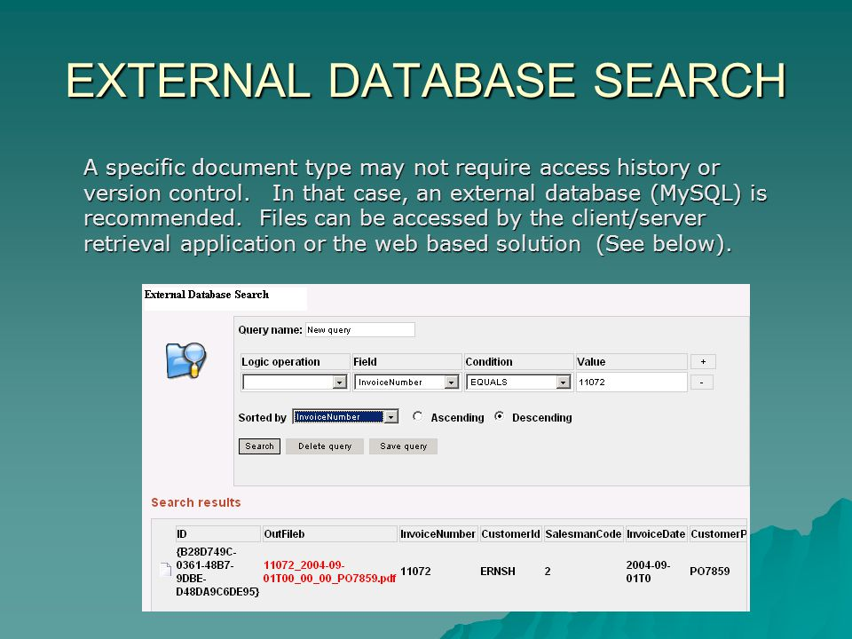 EXTERNAL DATABASE SEARCH