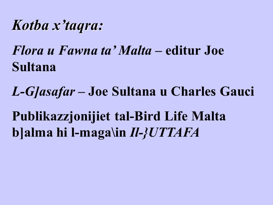 Kotba x'taqra: Flora u Fawna ta' Malta – editur Joe Sultana