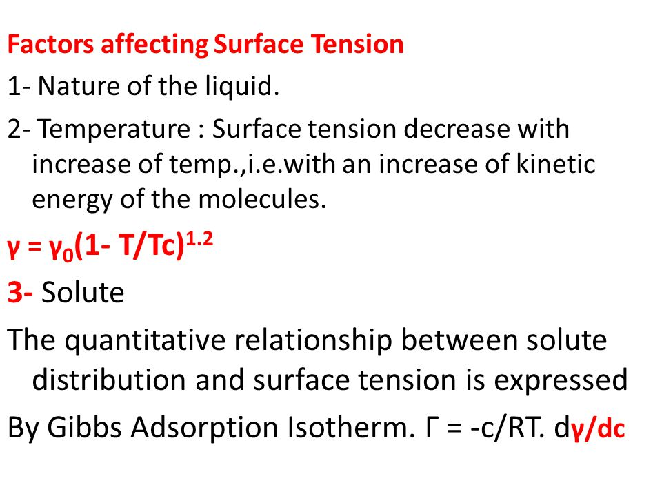 relationship between density and surface tension