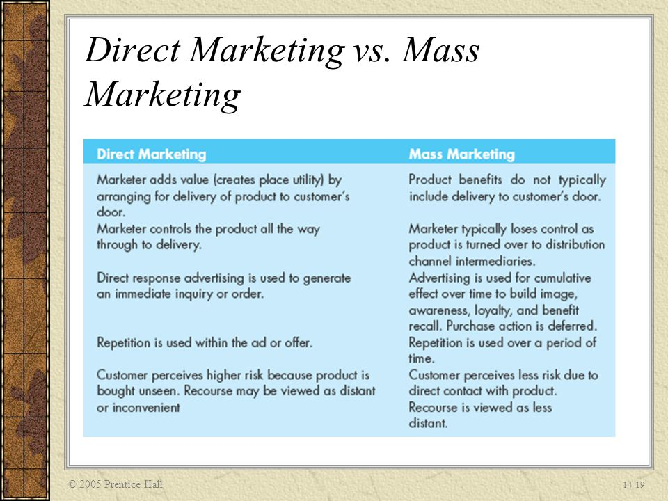 one to marketing vs relationship