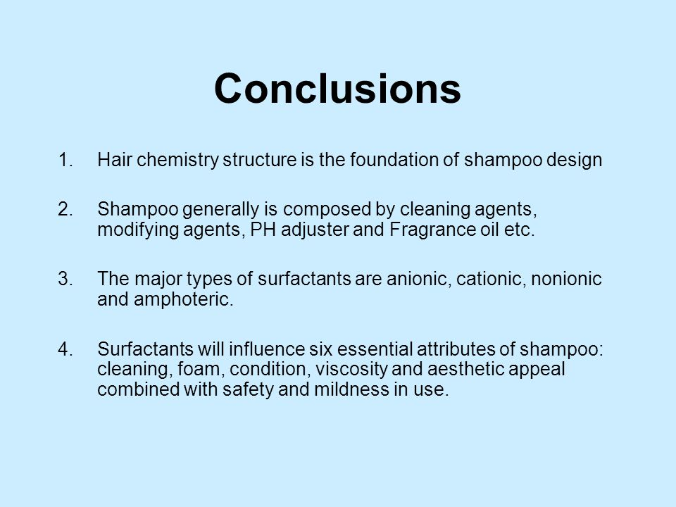 the chemistry of shampoo essay Shampoo chemistry in this section, you will learn what chemicals and other elements are within shampoo, how the shampoo reacts with your hair and why people use it.
