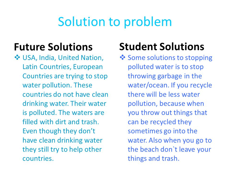problem solution essay water pollution Problem solution homelessness essay 1126 words | 5 pages homelessness the problems of america homelessness has always been a problem in major cities across the united states and even the world.