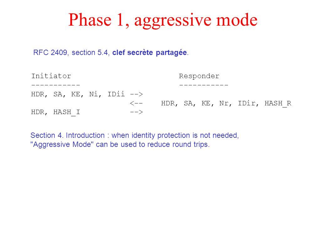 Phase 1, aggressive mode RFC 2409, section 5.4, clef secrète partagée.