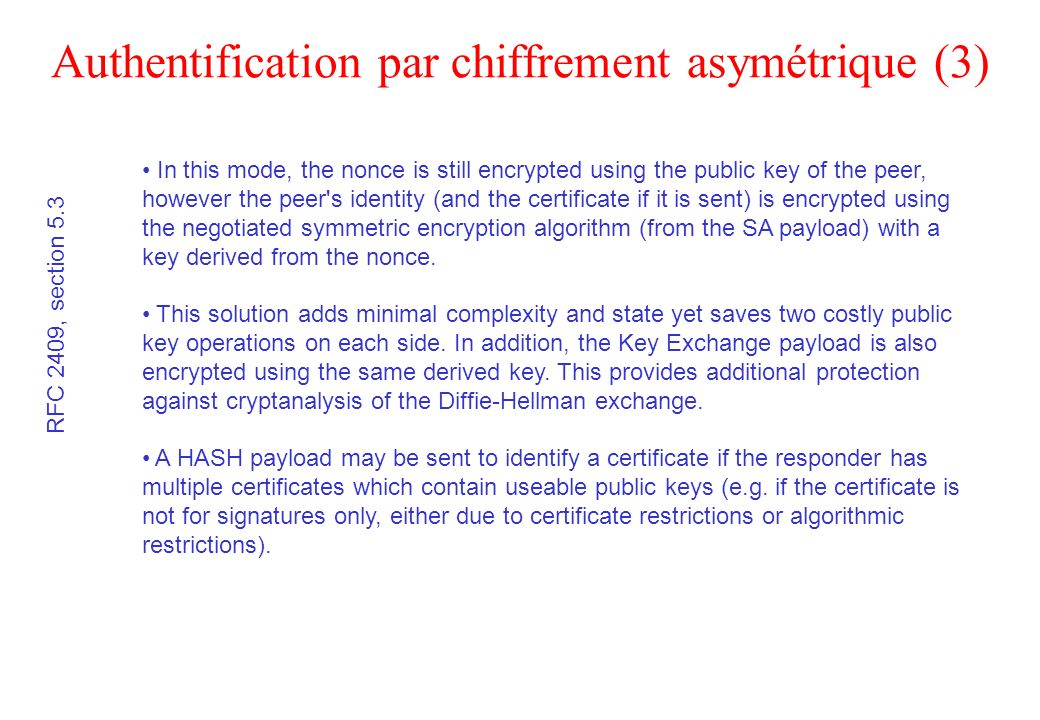 Authentification par chiffrement asymétrique (3)