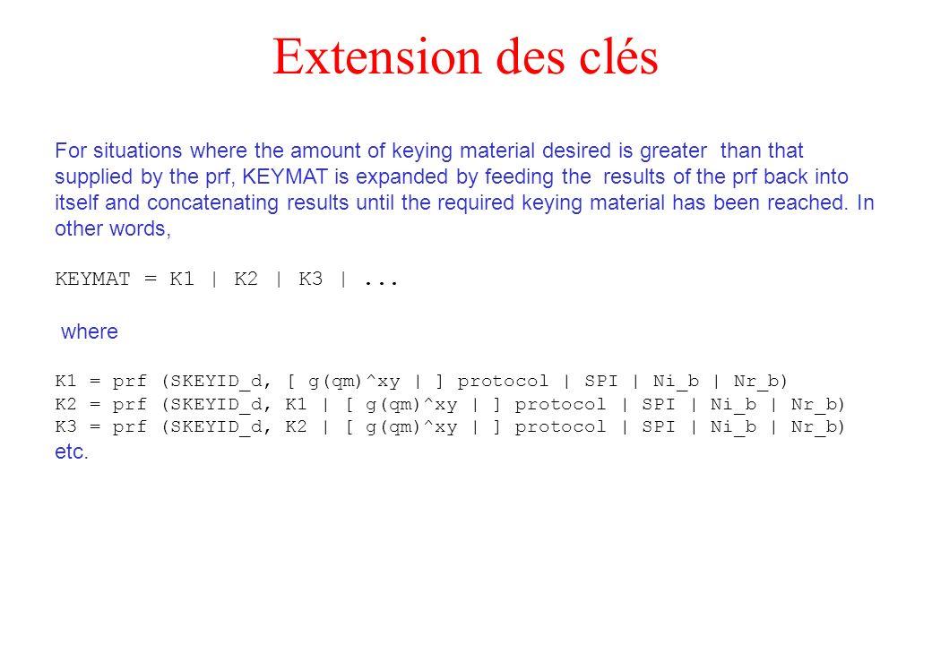 Extension des clés