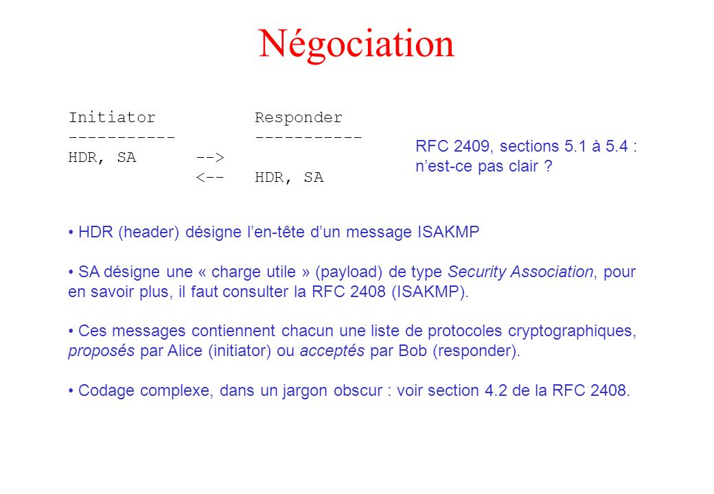 Négociation Initiator Responder ----------- ----------- HDR, SA -->