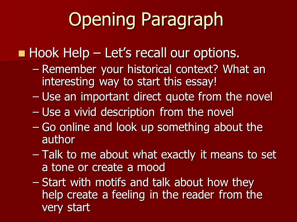how to start an intro to an essay 1 how to write the intro paragraph of a literary elements essay writing an essay on poetry can ultimately help you appreciate the poetic form more by understanding the craft that is involved when writing an essay, you should start from a general idea or concept and work toward something specific.