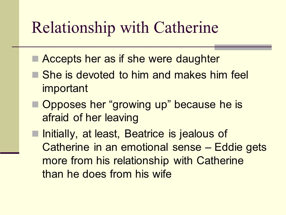 eddie and catherine s relationship A view from the bridge consider how catherine's relationship with eddie develops as the play progresses what is the importance of alfieri.
