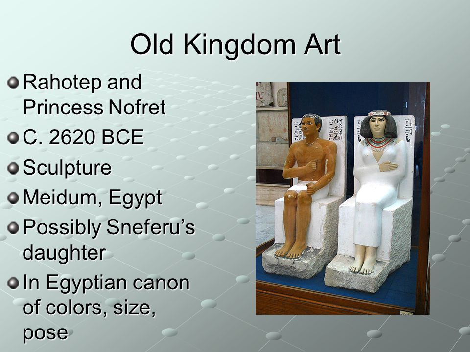 Old Kingdom Art Rahotep and Princess Nofret C BCE Sculpture