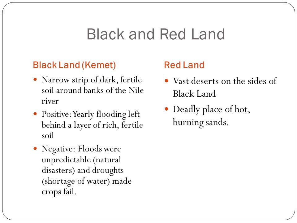 Black and Red Land Vast deserts on the sides of Black Land
