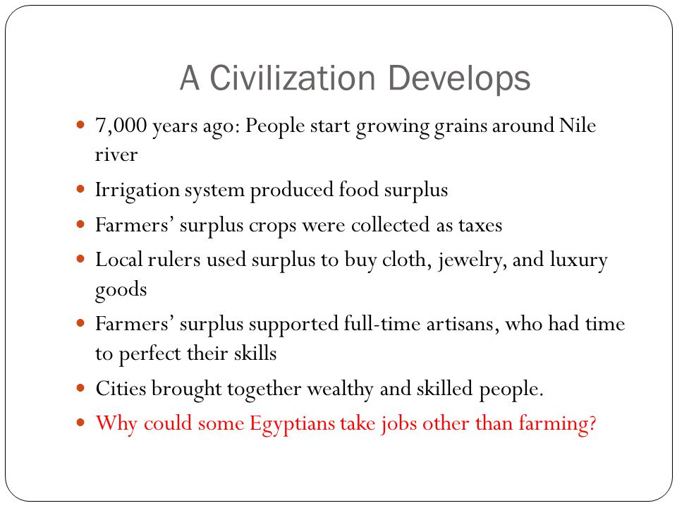 A Civilization Develops