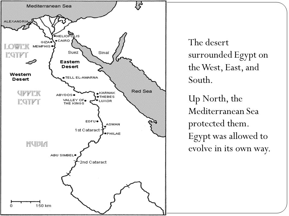 The desert surrounded Egypt on the West, East, and South.