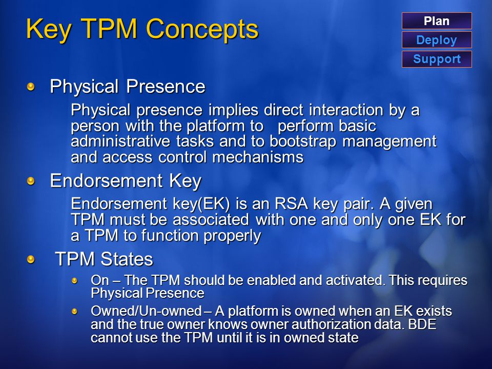 Key TPM Concepts Physical Presence Endorsement Key TPM States