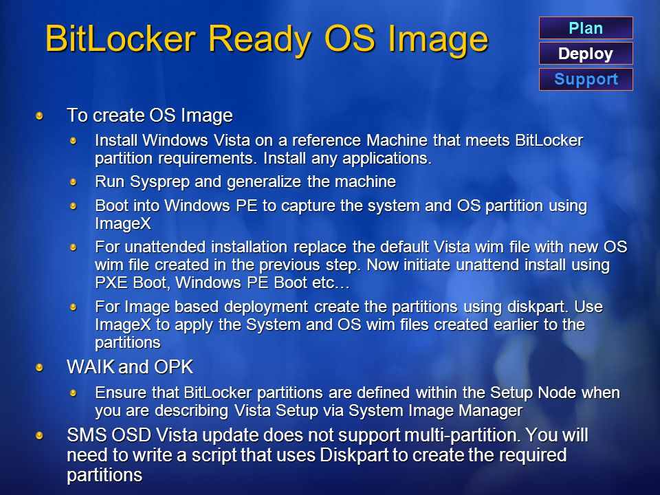 BitLocker Ready OS Image