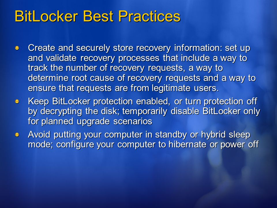 BitLocker Best Practices