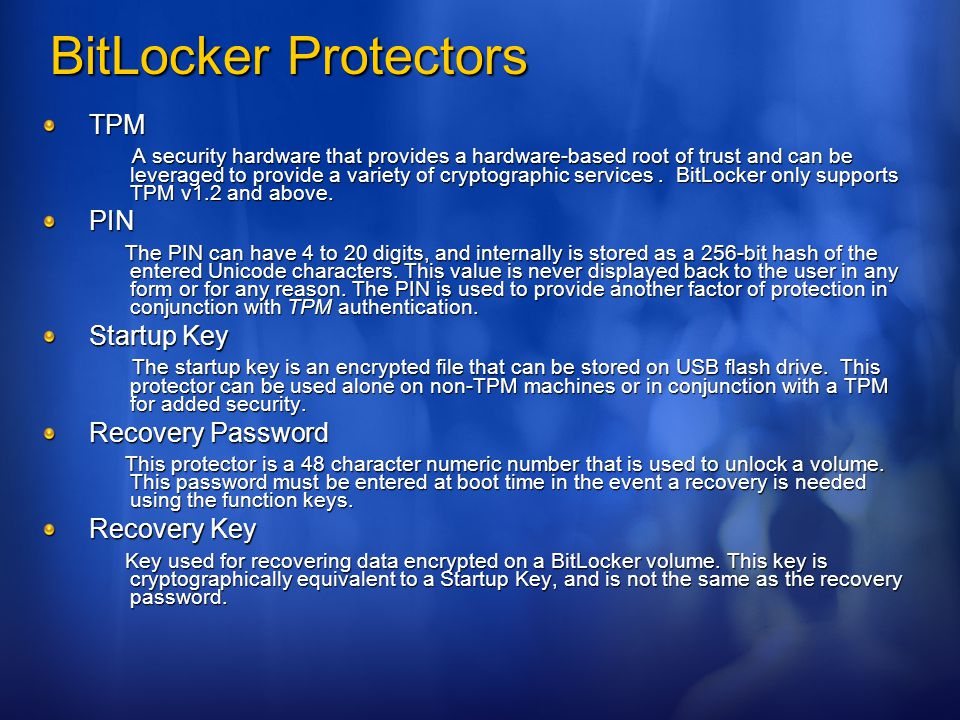 BitLocker Protectors TPM PIN Startup Key Recovery Password