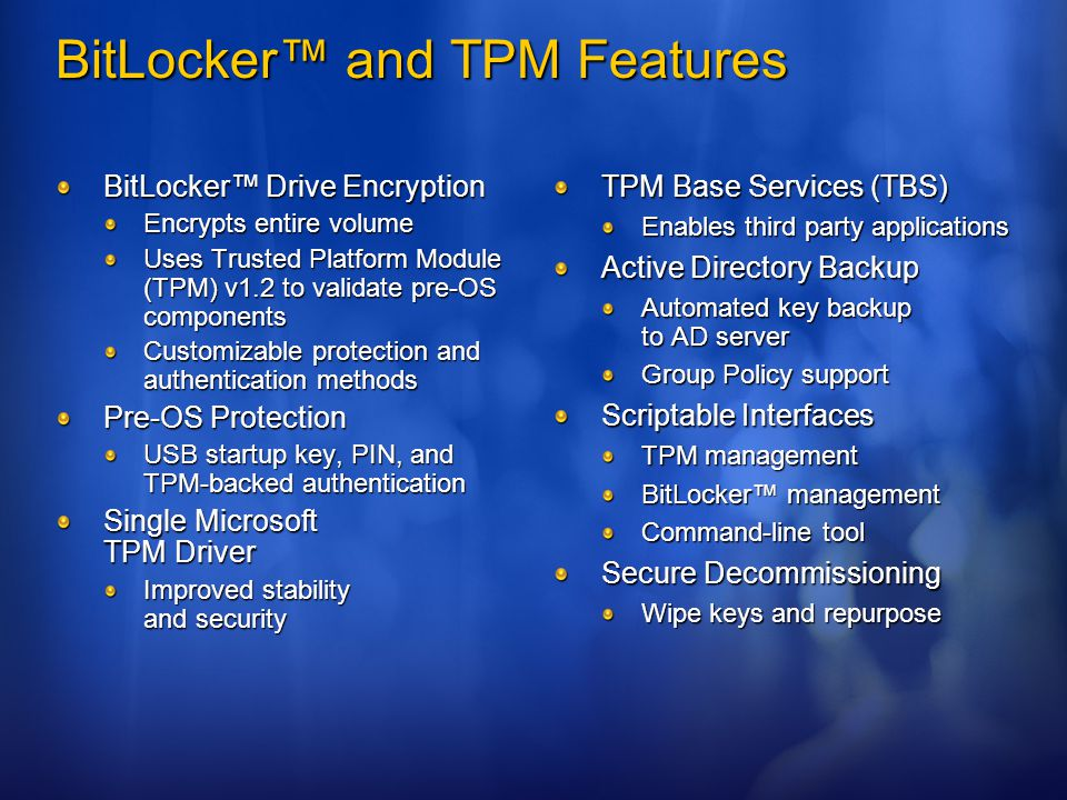 BitLocker™ and TPM Features