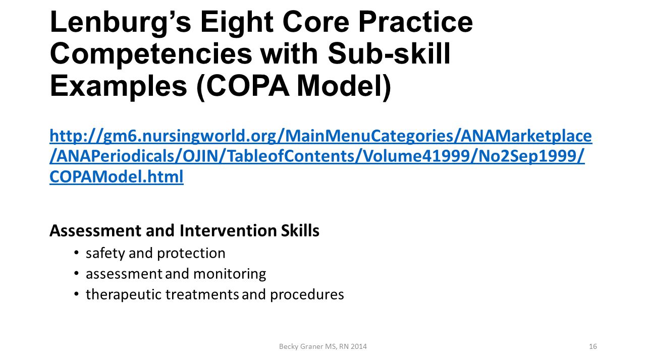 nursing competency performance copa model and scan report The competency outcomes and performance assessment model (copa) provides a  the copa model requires that indicators for outcomes ( competencies) are defined  team-based learning with specific guidelines to nursing students around  the results of the european network delphi round 1.