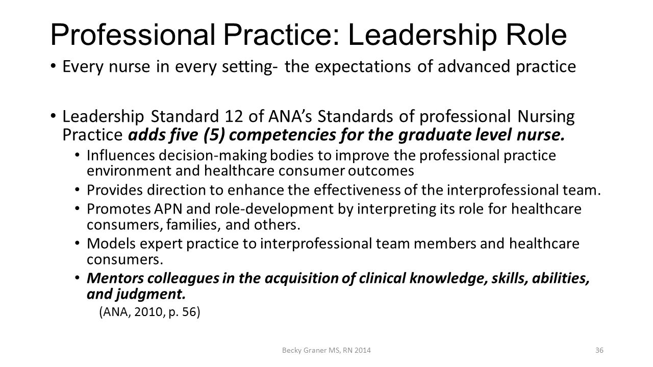 leadership in professional nursing Leadership in professional nursing introduction every day, a set team of nurses and nursing managers set out to ensure the health and well-being of review of professional nursing literature stogdill (1950) defines leadership as the process of influencing the activities of an organized group in.