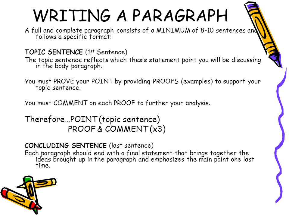 WRITING A PARAGRAPH Therefore…POINT (topic sentence)