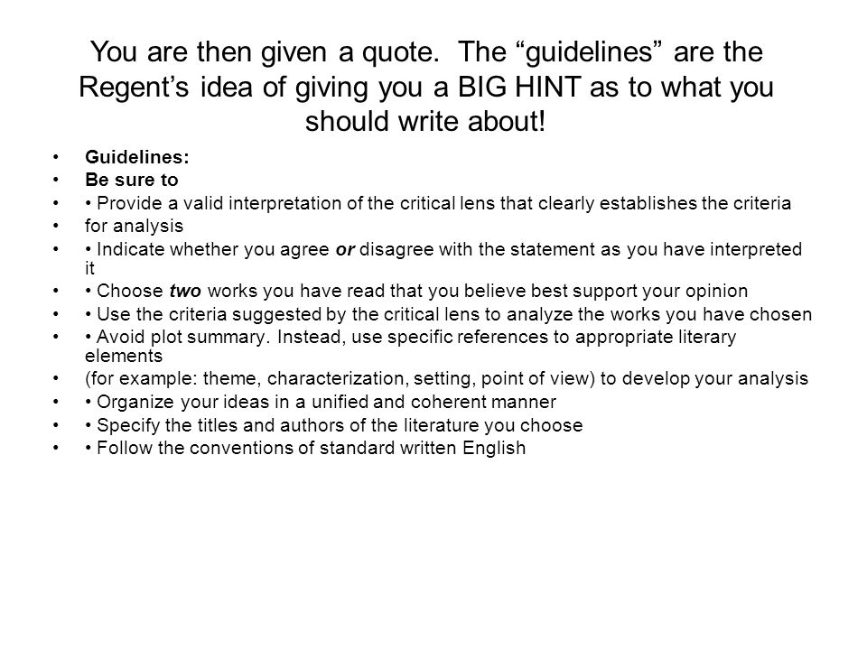 literary elements use critical lens essay A critical lens outline is not an essay and supports their opinion using specific references to appropriate literary elements the critical lens essay is.