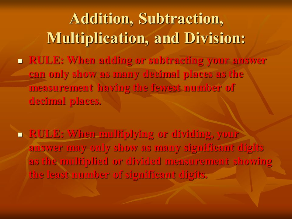 Addition, Subtraction, Multiplication, and Division: