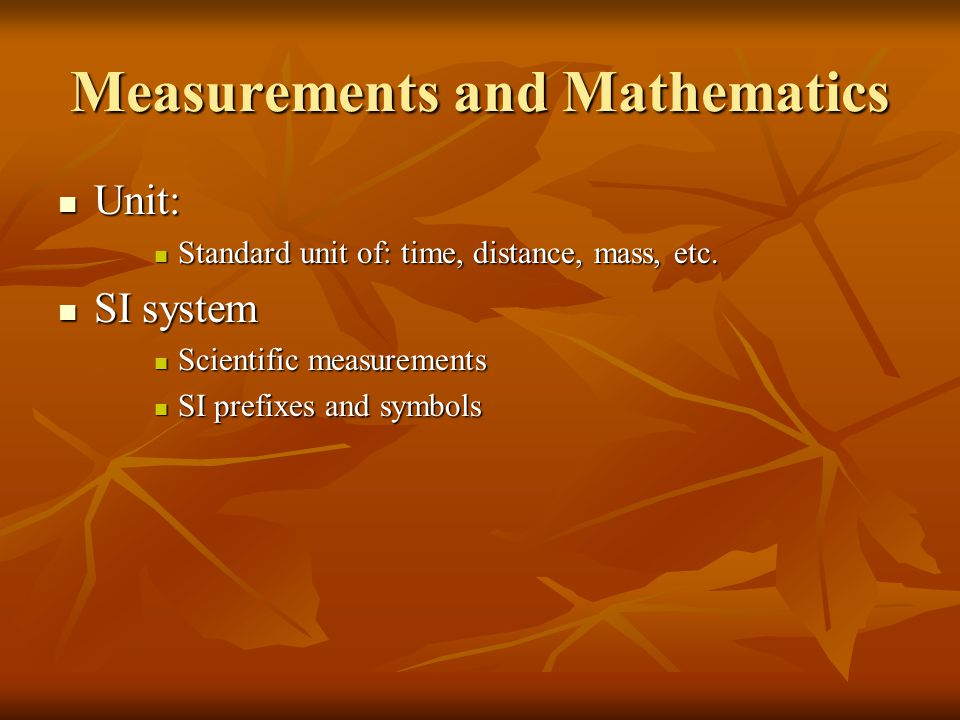 Measurements and Mathematics