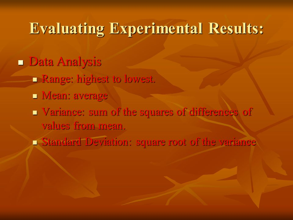 Evaluating Experimental Results: