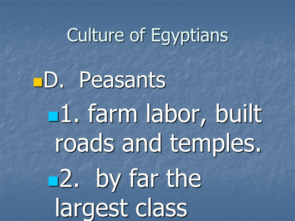 1. farm labor, built roads and temples. 2. by far the largest class