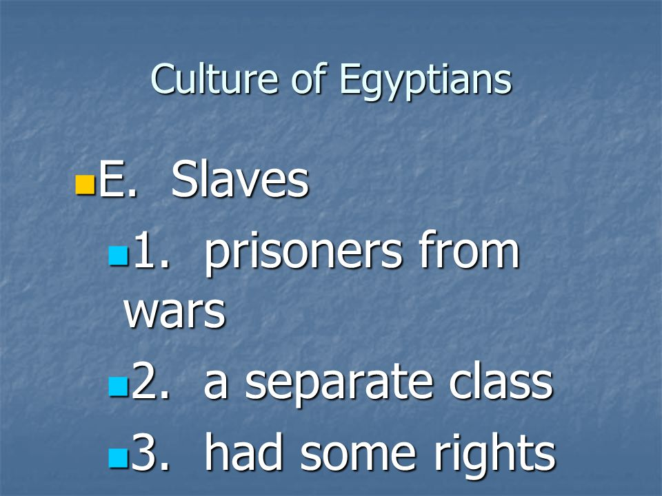 E. Slaves 1. prisoners from wars 2. a separate class