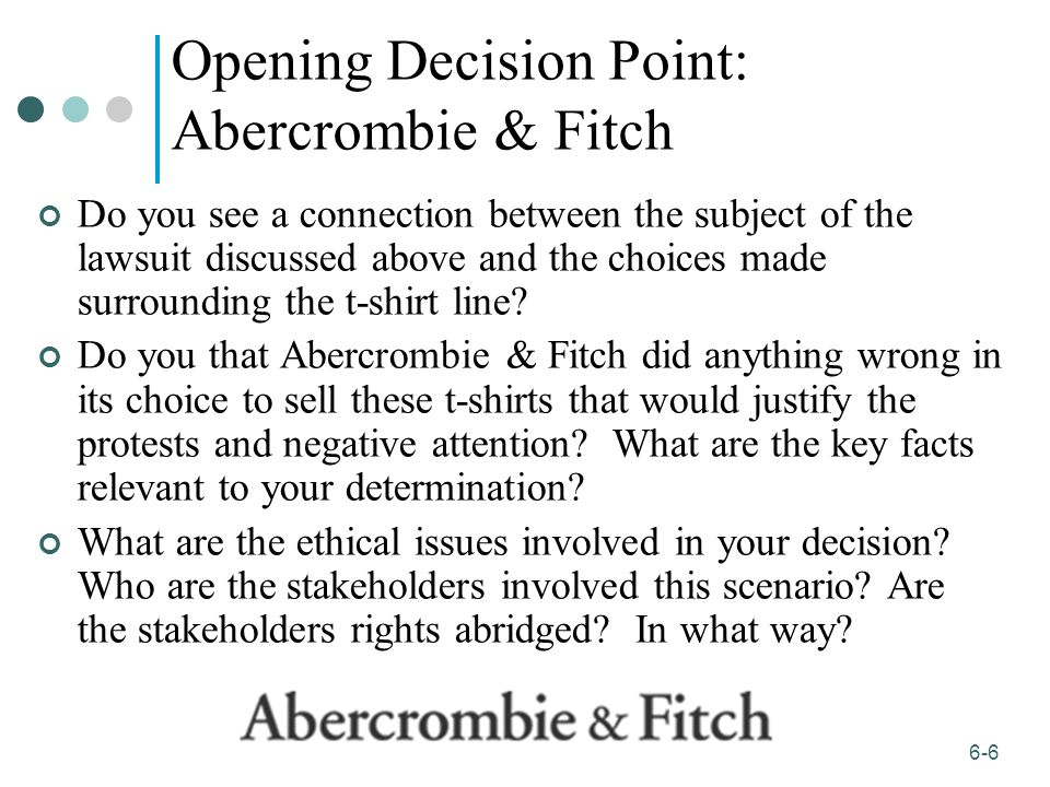 abercrombie fitch ethical issues Free essays on abercrombie and fitch legal issues and ethics get help with your writing 1 through 30.