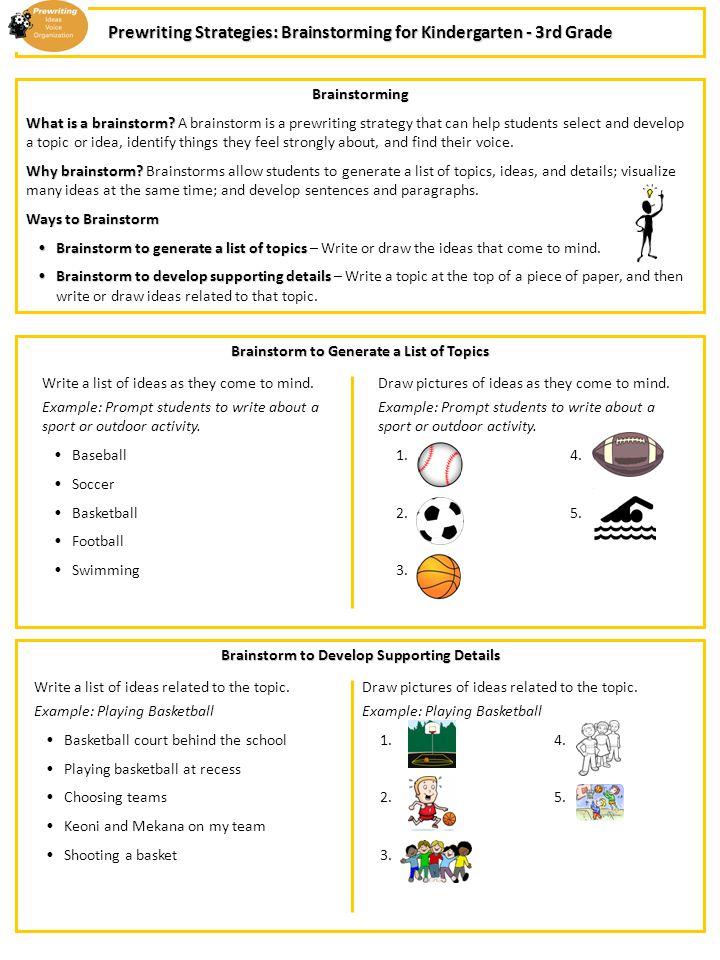 Prewriting Strategies Brainstorming For Kindergarten 3rd