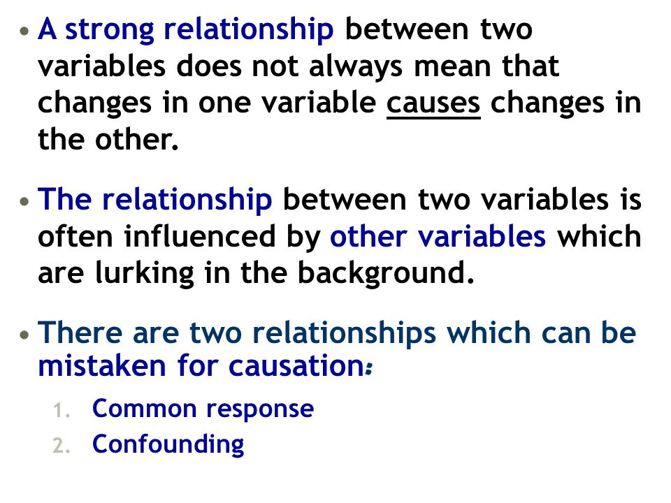 There are two relationships which can be mistaken for causation: