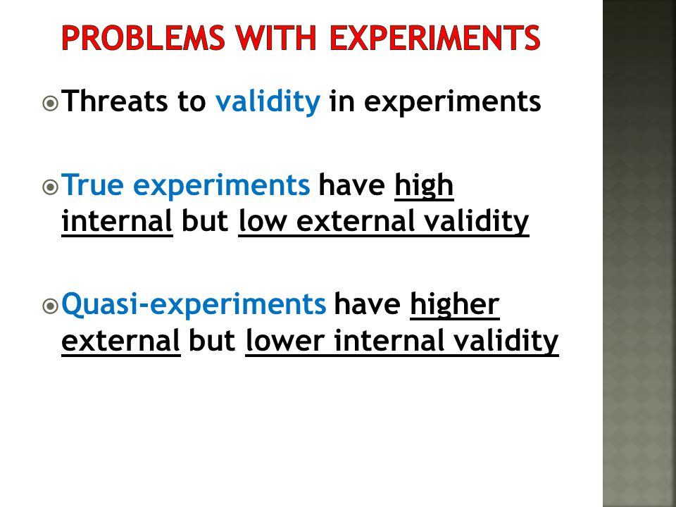 Problems with experiments