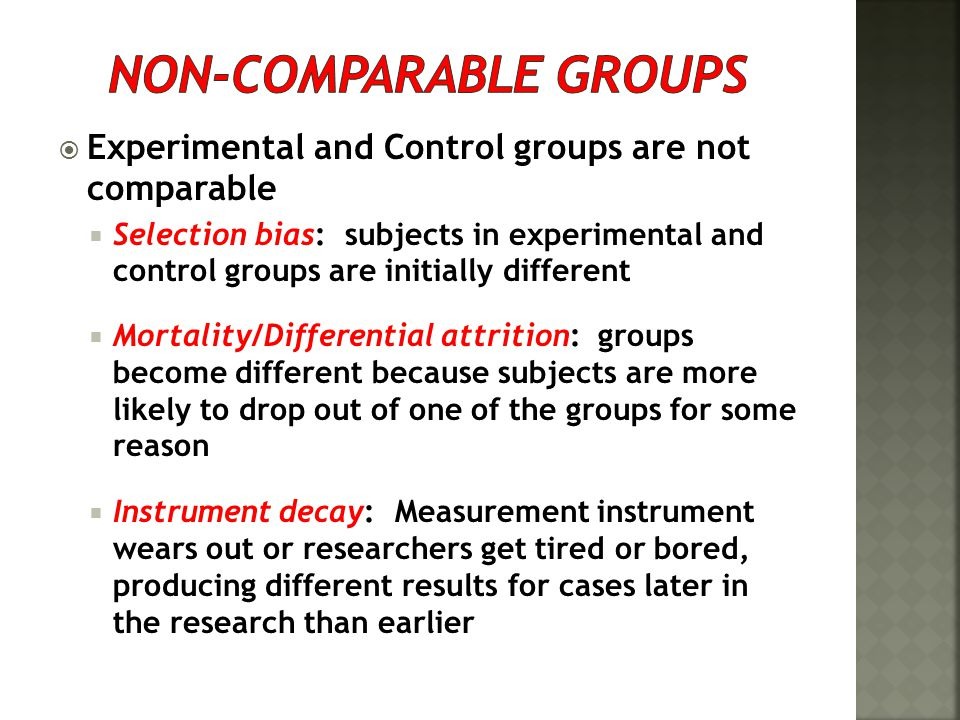 Non-comparable groups