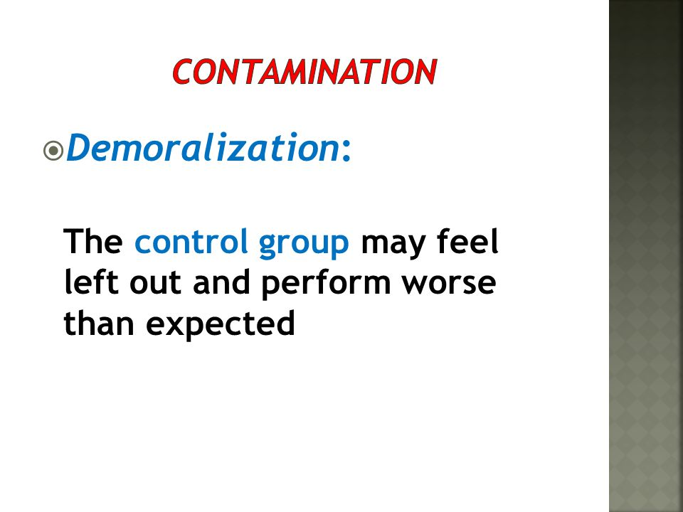 Demoralization: Contamination