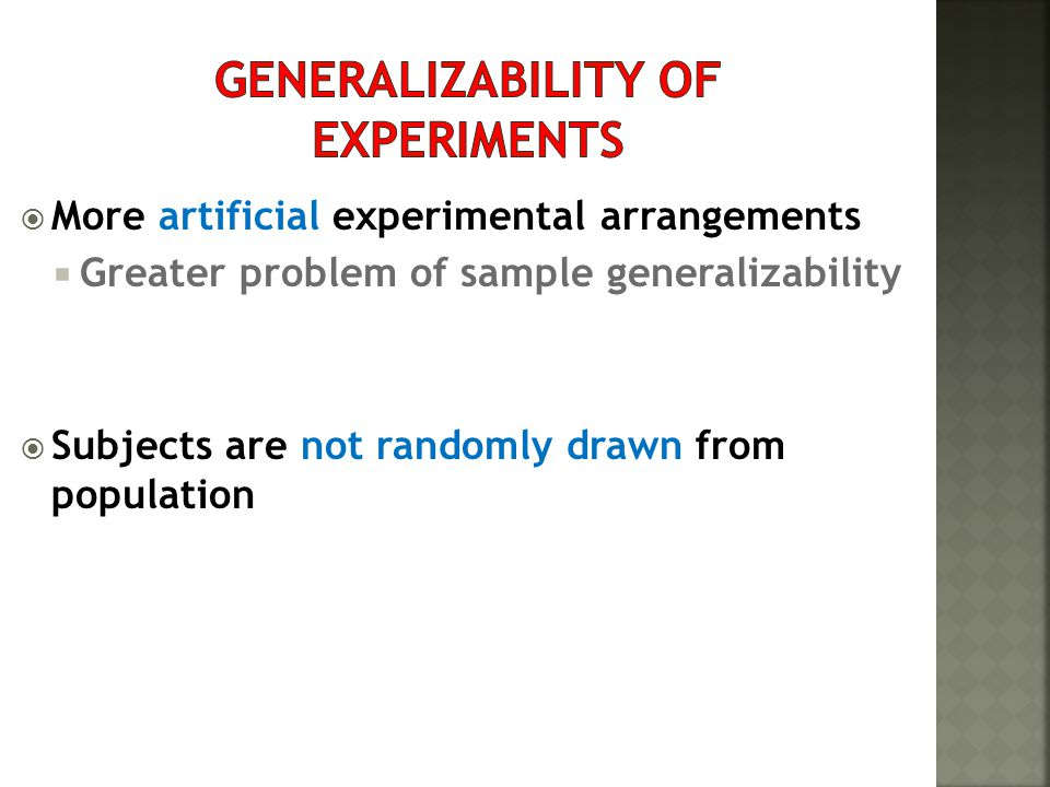 generalizability of experiments