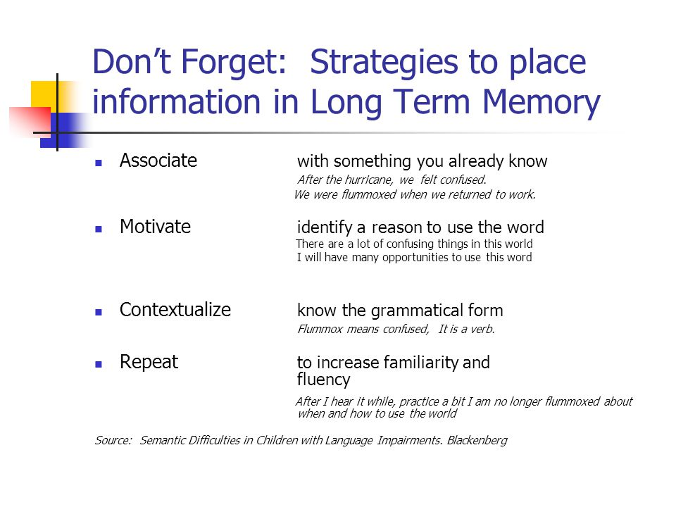 Memory strategies and their place in