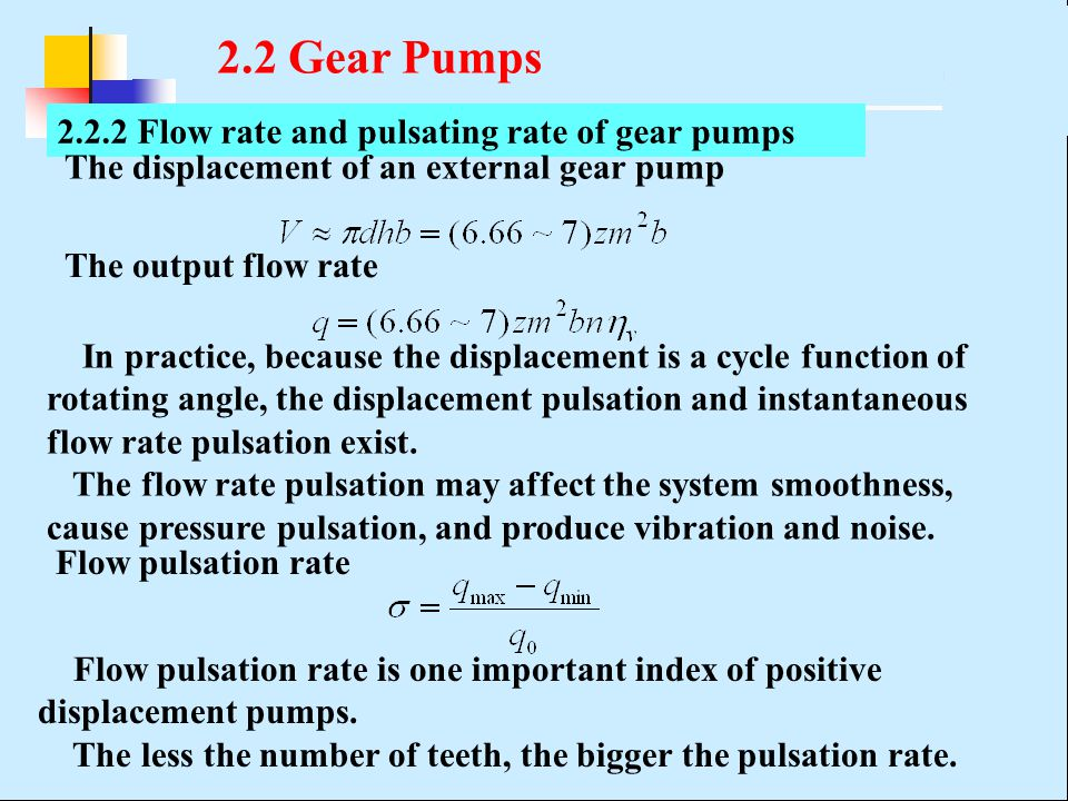2.2 Gear Pumps 2.2.2 Flow rate and pulsating rate of gear pumps
