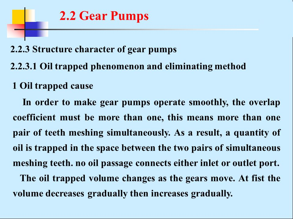 2.2 Gear Pumps 2.2.3 Structure character of gear pumps
