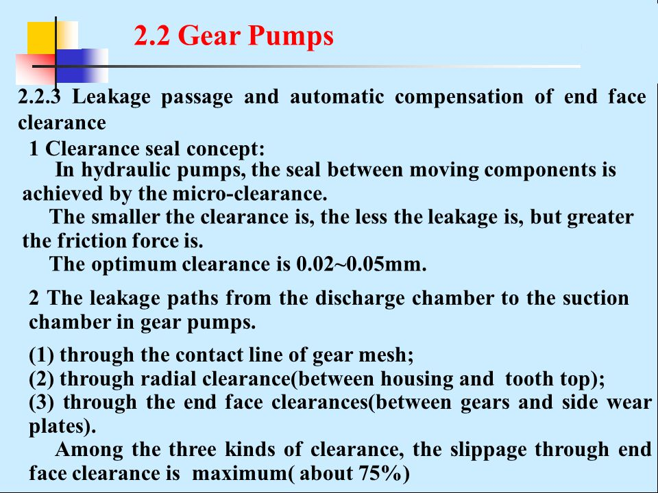 2.2 Gear Pumps 2.2.3 Leakage passage and automatic compensation of end face clearance. 1 Clearance seal concept: