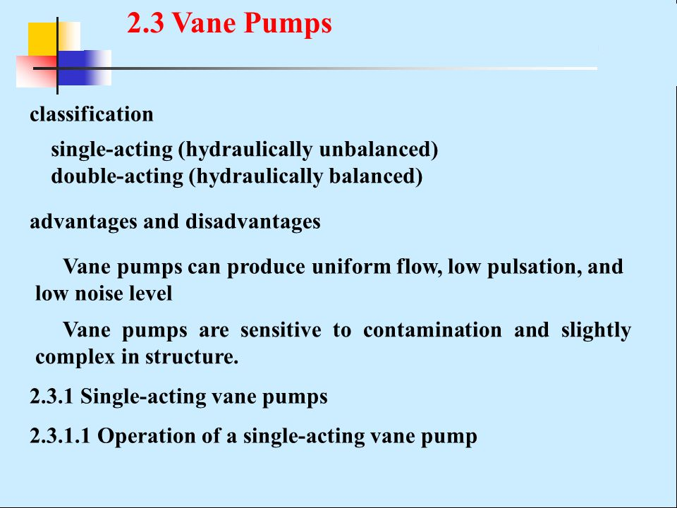 2.3 Vane Pumps classification single-acting (hydraulically unbalanced)