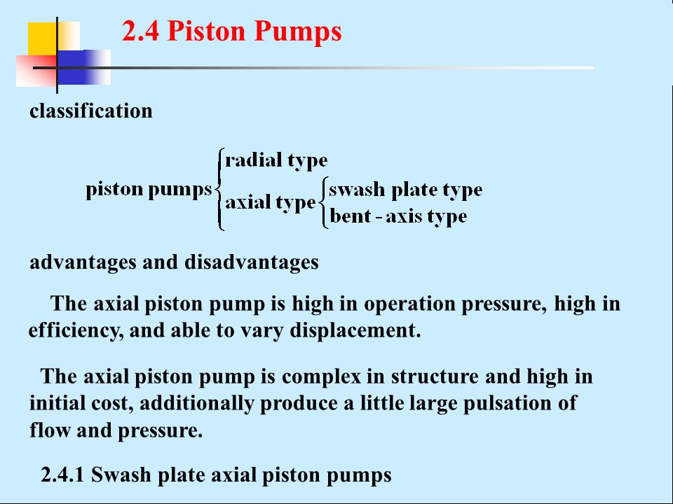 2.4 Piston Pumps classification advantages and disadvantages