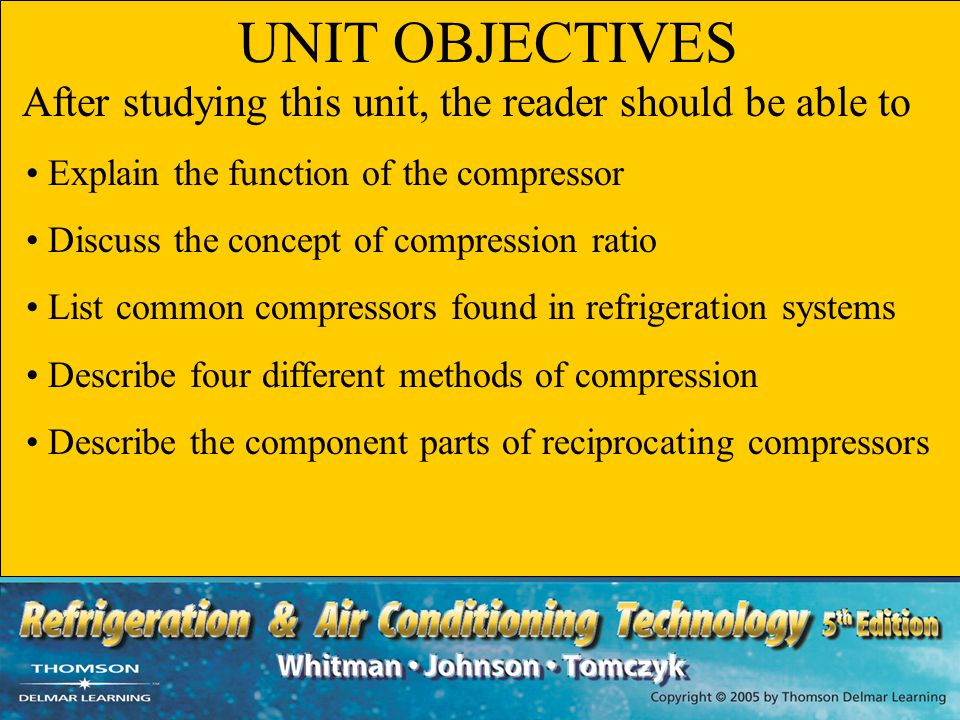 UNIT OBJECTIVES Explain the function of the compressor
