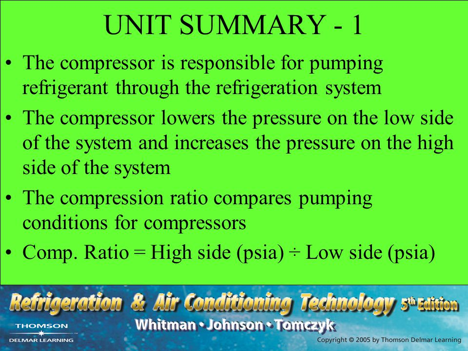 UNIT SUMMARY - 1 The compressor is responsible for pumping refrigerant through the refrigeration system.