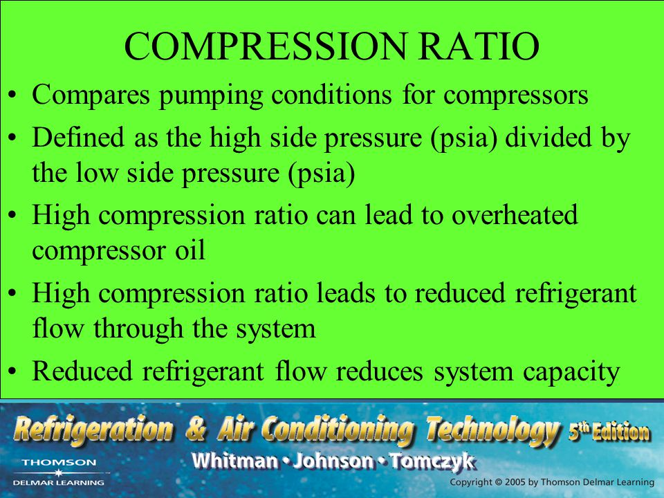 COMPRESSION RATIO Compares pumping conditions for compressors