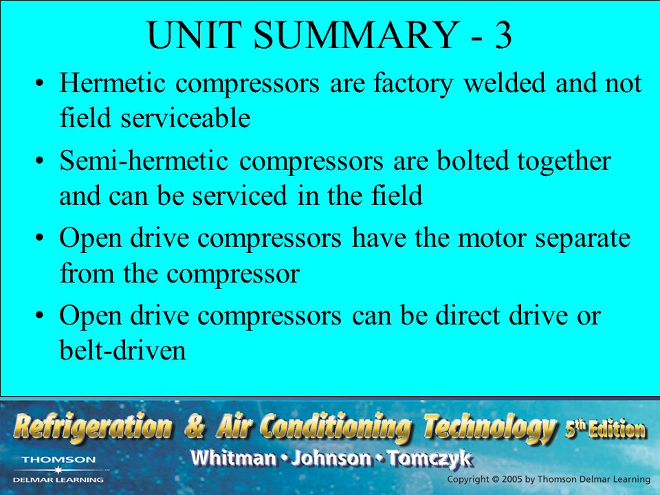 UNIT SUMMARY - 3 Hermetic compressors are factory welded and not field serviceable.