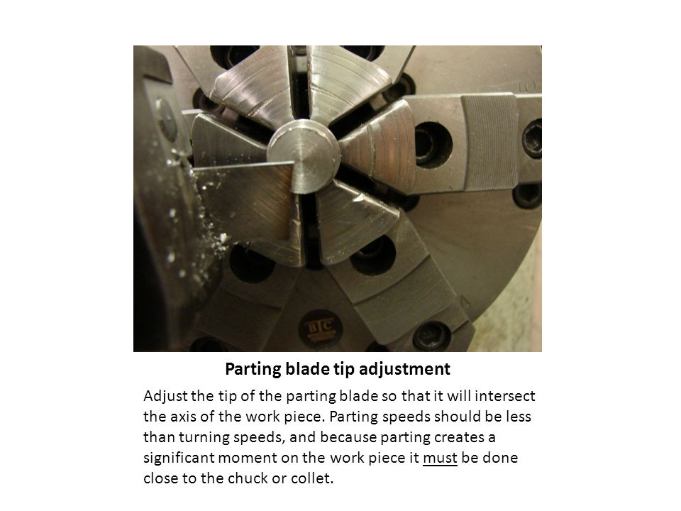 Parting blade tip adjustment