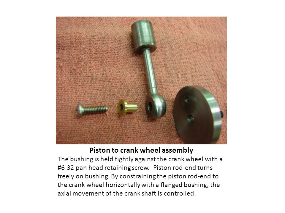 Piston to crank wheel assembly