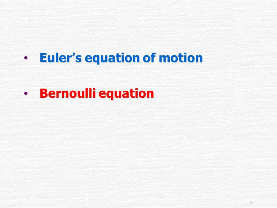 Euler's equation of motion